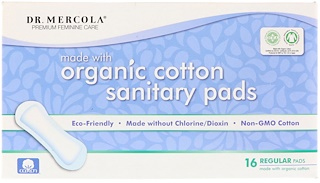 Dr. Mercola, Organic Cotton Sanitary Pads, Regular, 16 Pads