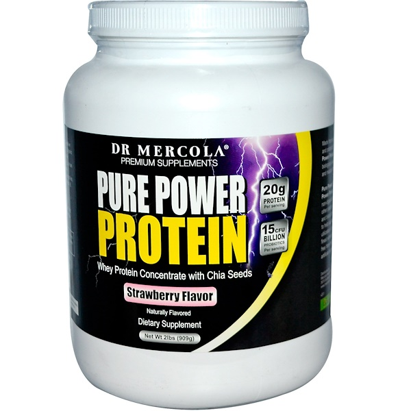 Dr. Mercola, Premium Supplements, Pure Power Protein, Strawberry Flavor, 2 lbs (909 g) (Discontinued Item)