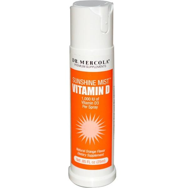 Dr、 Mercola, 維生素D噴霧,天然橙味,0、85液體盎司(25毫升)
