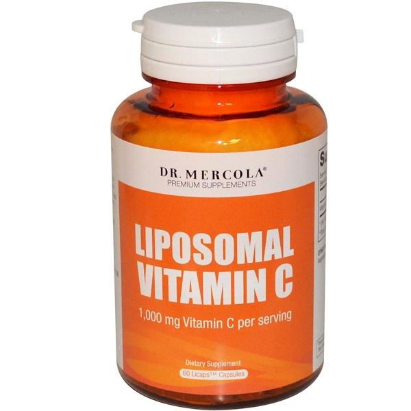 Dr. Mercola, Витамин C в липосомах, 1000 мг, 60 липосомных капсул