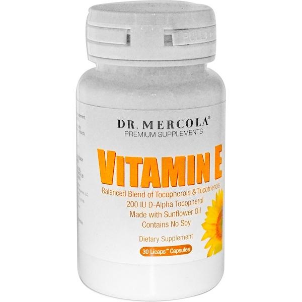 Dr. Mercola, Vitamin E, Tocopherols & Tocotrienols, 30 Licaps Capsules