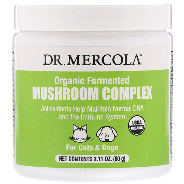 Dr. Mercola, Organic Fermented Mushroom Complex, For Cats & Dogs, 2.11 oz (60 g)