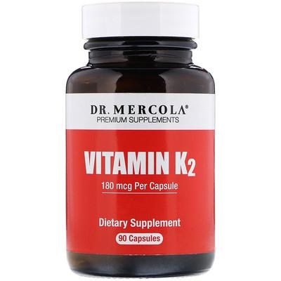 Купить Dr. Mercola ВитаминK2, 180мкг, 90капсул