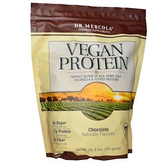 Dr. Mercola, Vegan Protein, Chocolate, 1 lb 6.5 oz (750 g)