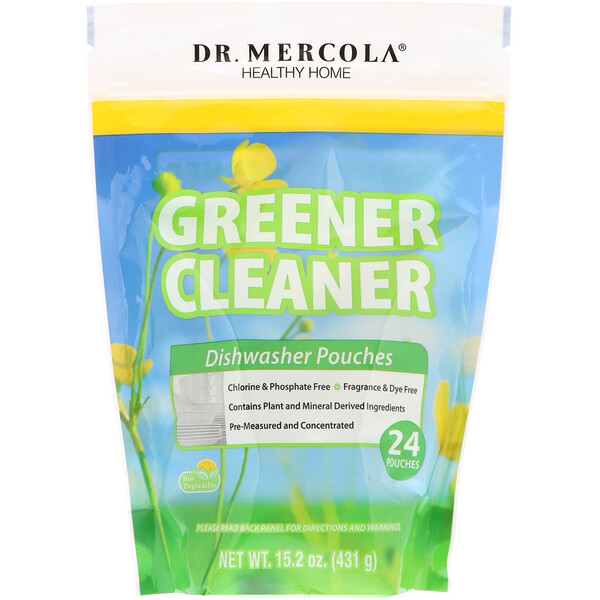 Dr. Mercola, Greener Cleaner,洗碗機洗滌劑,24袋