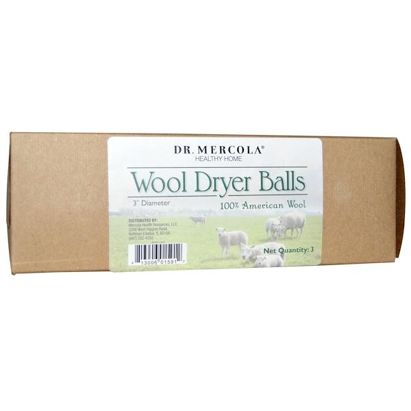 Dr. Mercola, Wool Dryer Balls, 3 Balls