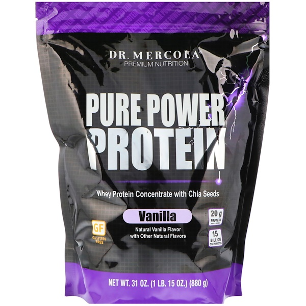 Dr. Mercola, Pure Power Protein, Vanilla Flavor, 1.93 lbs (880 g) (Discontinued Item)
