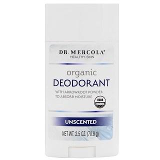 Dr. Mercola, オーガニック デオドラント、無香料、2.5 oz (70.8 g)