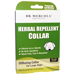 Dr. Mercola, 허브 방충 목걸이, 대형견 용, 1 개, 1.5 온스 (45.52g)