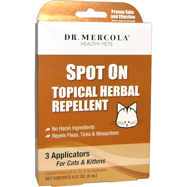 Dr. Mercola, Healthy Pets, Spot On Topical Herbal Repellent for Cats & Kittens, 3 Applicators, 0.07 fl oz (2 ml) Each (Discontinued Item)