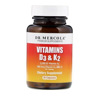 Купить Dr. Mercola Витамины D3 и K2, 30 капсул