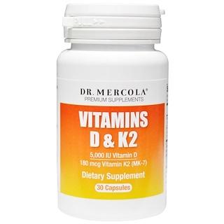 Dr. Mercola, 비타민 D & K2(Vitamins D & K2), 30 캡슐