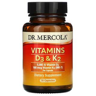 Dr. Mercola, VitaminasD3 yK2, 30cápsulas