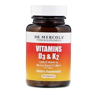Dr. Mercola, Vitaminas D3 e K2, 30 cápsulas