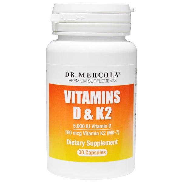 Dr. Mercola, Vitamins D & K2, 30 Capsules