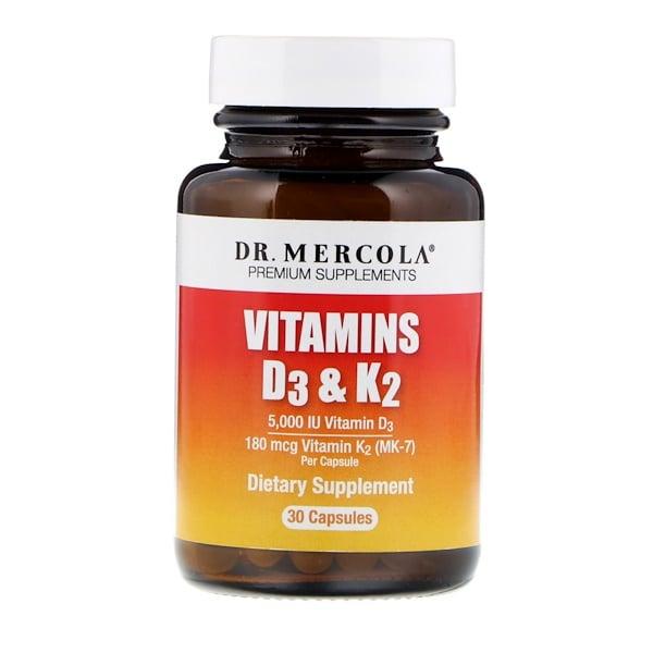 Dr. Mercola, Vitaminas D3 y K2, 30 cápsulas