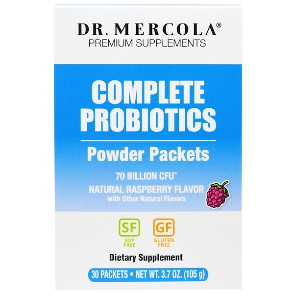 Dr. Mercola, Complete Probiotics Powder Packets, Natural Raspberry Flavor, 30 Packets, 0.12 oz (3.5 g) Each