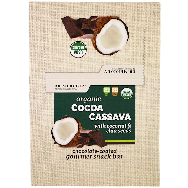 Organic Cocoa Cassava with Coconut & Chia Seeds, 12 Bars, 1.55 oz (44 g) Each