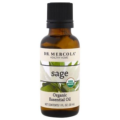 Купить Dr. Mercola Органическое эфирное масло, Шалфей, 1 унция (30 мл)