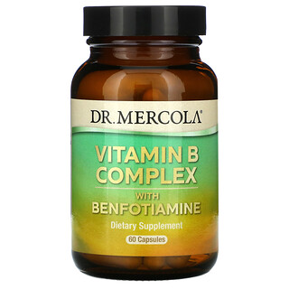 Dr. Mercola, Vitamin B Complex with Benfotiamine, Vitamin-B-Complex mit Benfotiamin, 60Kapseln