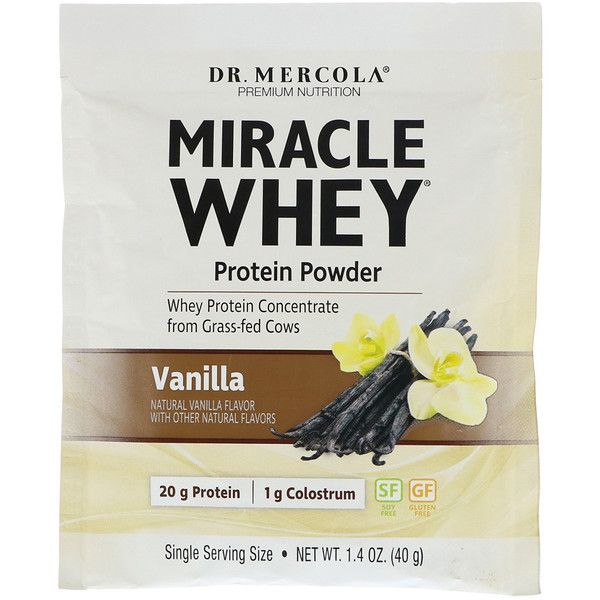 Dr. Mercola, Miracle Whey Protein Powder, Vanilla, 1.4 oz (40 g)