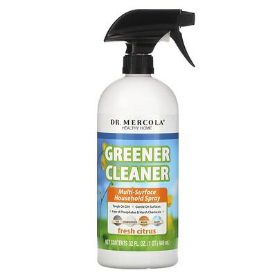 Купить Dr. Mercola Greener Cleaner, спрей для уборки, подходит для различных поверхностей, с запахом свежего цитруса, 32 жидк.унц. (946 мл)