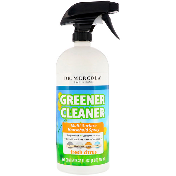 Dr. Mercola, Greener Cleaner, Multi Surface Household Spray, Fresh Citrus, 32 fl oz (946 ml)