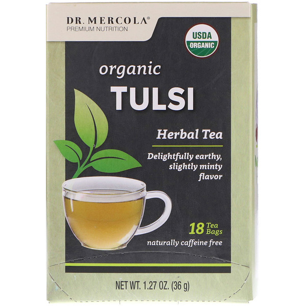 Dr. Mercola, Organic Tulsi, Herbal Tea, 18 Tea Bags, 1.27 oz (36 g)