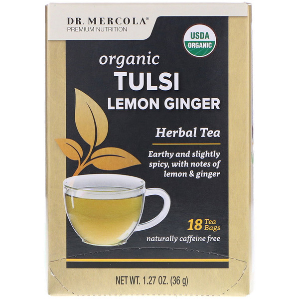 Dr. Mercola, Organic Tulsi Lemon Ginger, Herbal Tea, 18 Tea Bags, 1.27 oz (36 g)