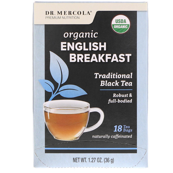 Dr. Mercola, Organic English Breakfast, Traditional Black Tea, 18 Tea Bags, 1.27 oz (36 g)