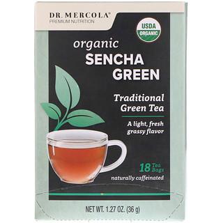 Dr. Mercola, Organic Sencha Green, Traditional Green Tea, 18 Tea Bags, 1.27 oz (36 g)
