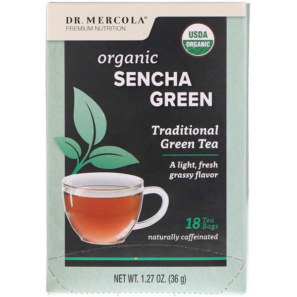 Dr. Mercola, Органический зеленый чай Сенча, Традиционный зеленый чай, 18 чайных пакетиков, 1,27 унц. (36 г)
