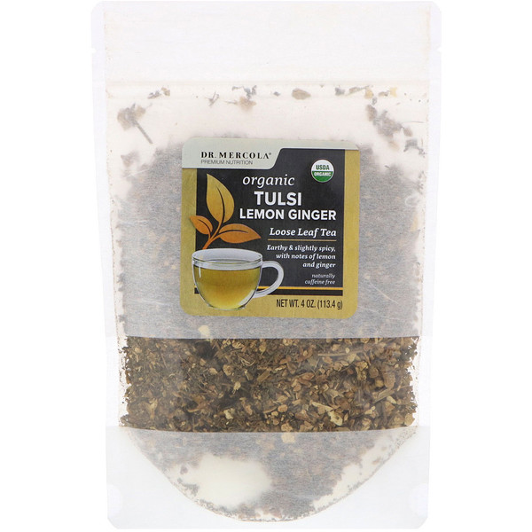 Dr. Mercola, شاي تولسي العضوي مع الزنجبيل والليمون، أوراق منفصلة، 4 أوقية (113.4 غرام)