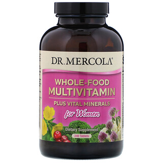 Dr. Mercola, 女性用自然食品マルチビタミン+バイタルミネラル、240錠