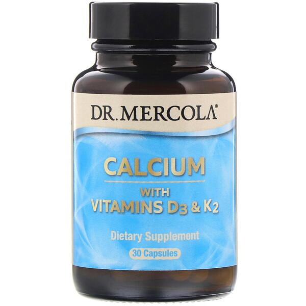 Dr. Mercola, Calcium with Vitamins D3 & K2, 30 Capsules