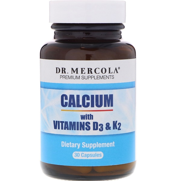 Dr. Mercola, Calcium with Vitamins D3 & K2, 30 Capsules