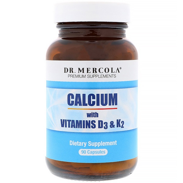 Dr. Mercola, Calcium with Vitamins D3 & K2, 90 Capsules