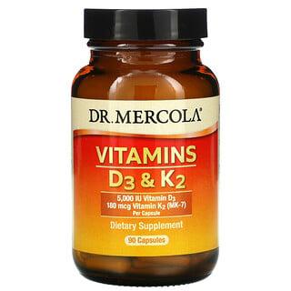 Dr. Mercola, VitaminasD3 yK2, 90cápsulas