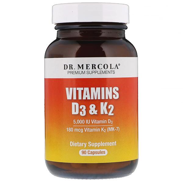 Dr. Mercola, Vitamins D3 & K2, 5,000 IU, 90 Capsules