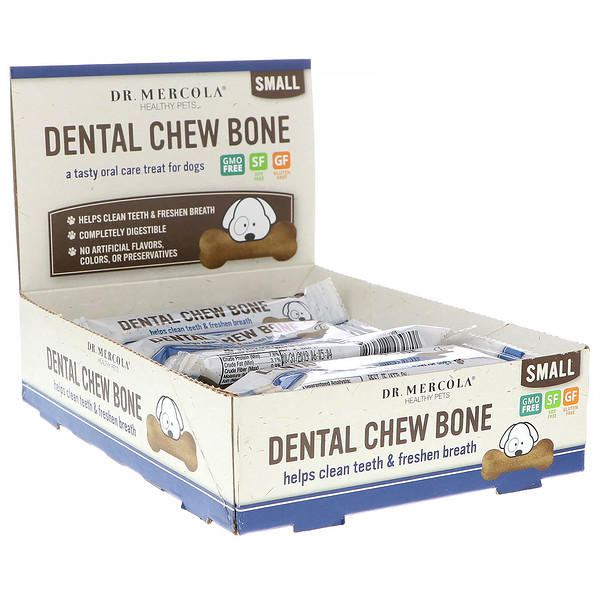Dr. Mercola, Dental Chew Bone, Small, For Dogs, 12 Bones, 0.77 oz (22 g) Each