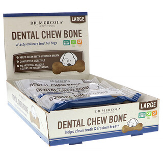 Dr. Mercola, Dental Chew Bone, Large, For Dogs, 12 Bones, 2.15 oz (61 g) Each