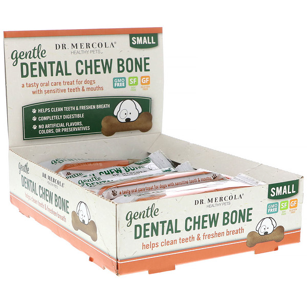 Dr、 Mercola, Gentle Dental Chew Bone, Small, For Dogs, 12 Bones, 0、67 oz (19 g) Each