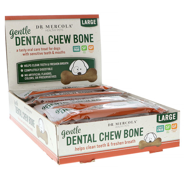 Gentle Dental Chew Bone, Large, For Dogs, 12 Bones, 1.97 oz (56 g) Each