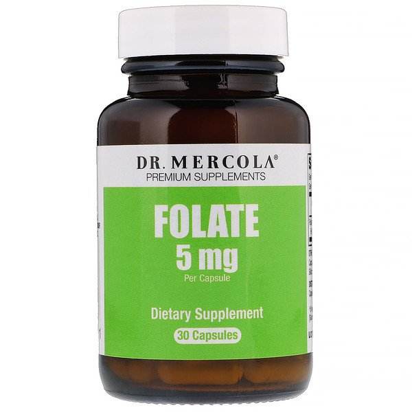 Dr. Mercola, Folate, 5 mg, 30 Capsules