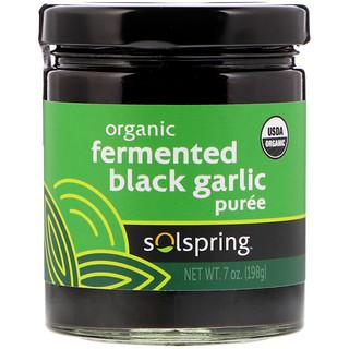 Dr. Mercola, Solspring、オーガニック発酵ブラックガーリックピューレ、7 oz (198 g)