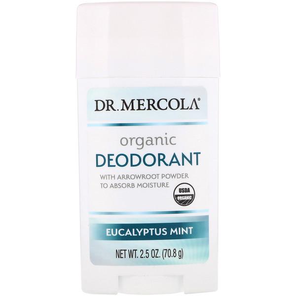 Dr. Mercola, مزيل رائحة العرق العضوي، أوكالبتوس بالنعناع، 2.5 (70.8 غرام)