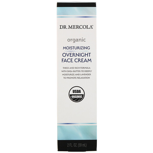 Dr. Mercola, Organic Moisturizing Overnight Face Cream, 2 fl oz (59 ml)
