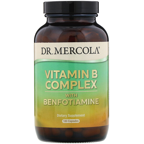 Dr. Mercola, فيتامين ب مركب وبنفوتيامين، 180 كبسولة