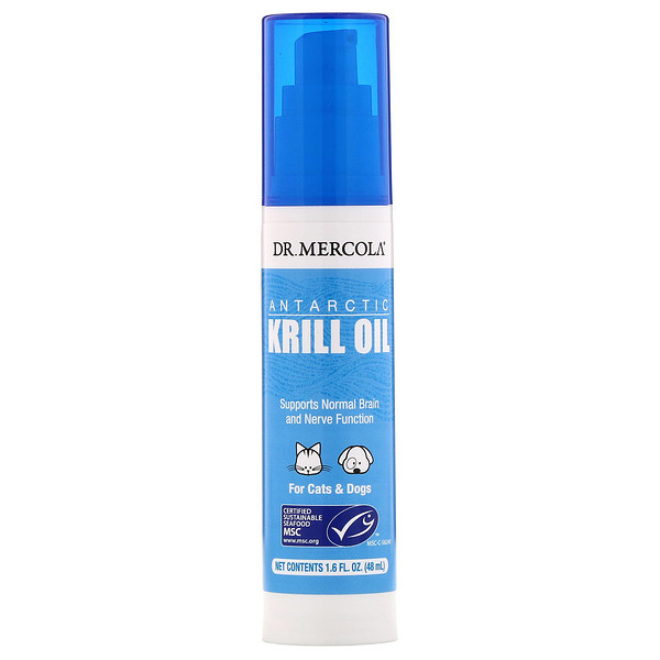 Dr. Mercola, Antarctic Krill Oil Liquid Pump for Cats & Dogs, 1.6 fl (48 ml)