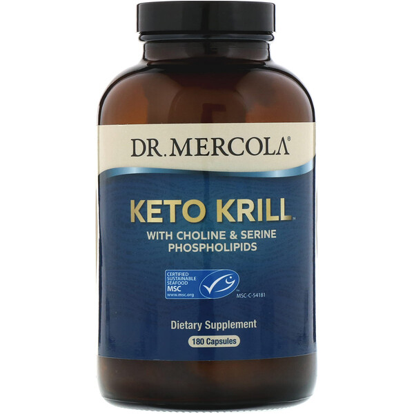 Dr. Mercola, Keto Krill with Choline & Serine Phospholipids, 180 Capsules